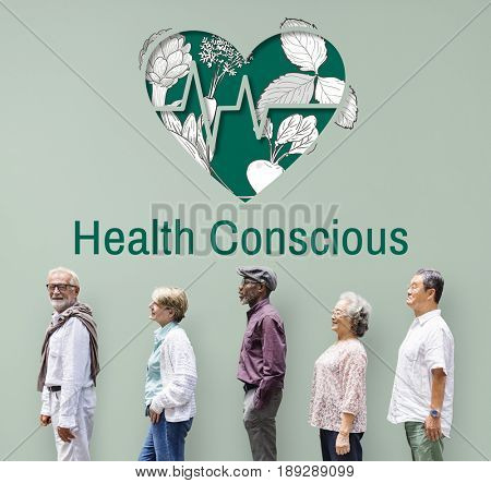Health conscious heart graphic with old people in a queue