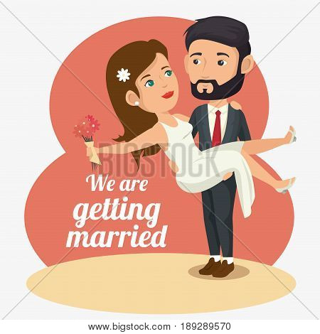 Groom picking bride up with flowers and we are getting married sign over peach, beige and white background. Vector illustration.
