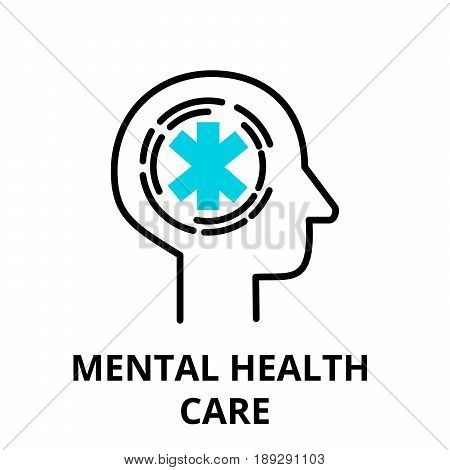 Mental Health Care icon flat thin line vector illustration for graphic and web design