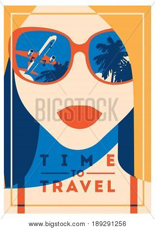 Time to Travel and Summer Camp poster. Traveling template poster, badge, vector illustration. Party poster with lettering.