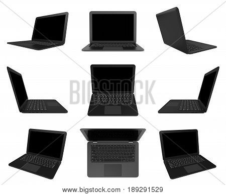 Black Laptop Computer Isolated On White, Multiple View Series
