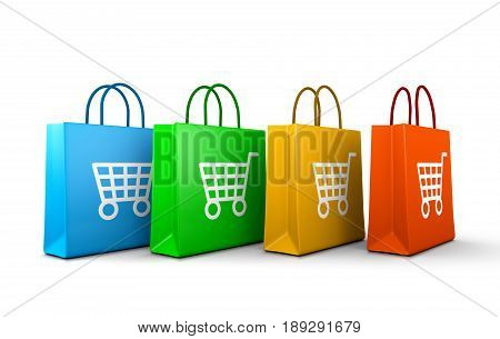 Shopping Bags With Cart Symbol Series