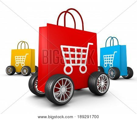 Shopping Bags With Cart Symbol And Wheels