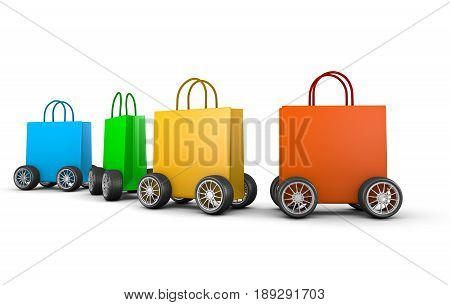 Raw Of Shopping Bags With Wheels