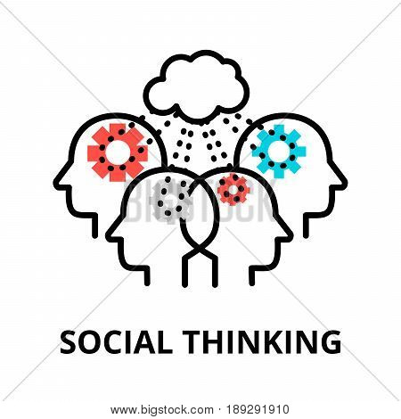 Social Thinking icon flat thin line vector illustration for graphic and web design