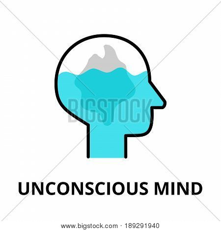 Unconscious Mind icon flat thin line vector illustration for graphic and web design