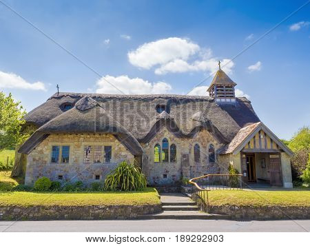 An english cottage church in the countryside on the Isle Of Wight England UK