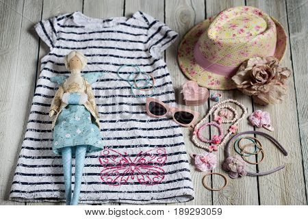 Summer attributes decorations Swedes and hat for little girl and doll in the style of the Tilde