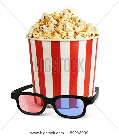 Popcorn in bucket with 3d glasses on white