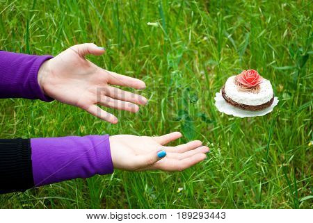 Fat woman wants to lose weight diet side view from above on the grass hands pulls her hands to strive for a flying soaring cupcake white brown pink rose levitation fly away on the left purple black short nails blue on a blurred background fat sport