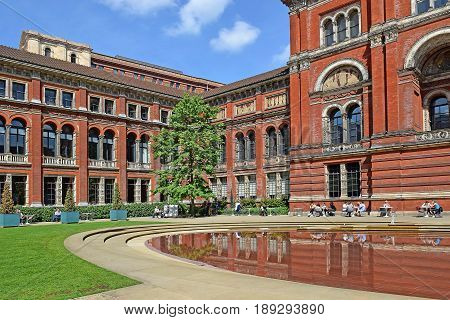 LONDON, ENGLAND - May 24,2017: courtyard at the Victoria and Albert Museum, London, UK