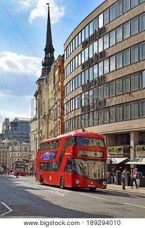 LONDON, ENGLAND - May 24,2017: red double-decker bus, one of the symbols of London on a street in central London, London, UK
