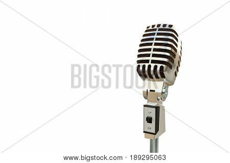 3d illustration of an old microphone isolated on white background