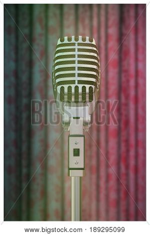 3d illustration of an old studio microphone