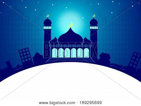 Happy Eid Ramadan Islamic Greeting Card with Mosque, Cityscape, Stars, Crescent Moon, and Door to Heaven in the Blue Night Template