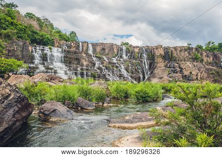 Amazing Pongour Waterfall Is Famous And Most Beautiful Of Fall In Vietnam. Not Far From Dalat City E