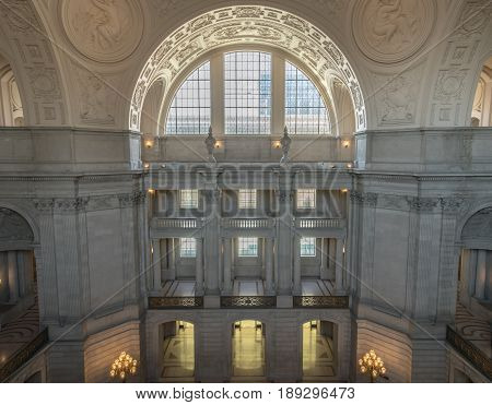 San Francisco, California, USA - June 1, 2017: San Francisco City Hall. The Rotunda walls with the Gallery Window as seen from the 4th floor facing north.