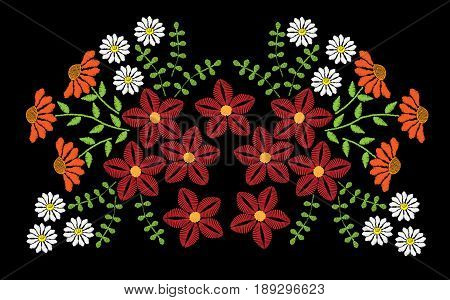 Embroidery stitches imitation fashion pattern with folk colorful flower. Floral embroidery on black background. Embroidery flower vector.