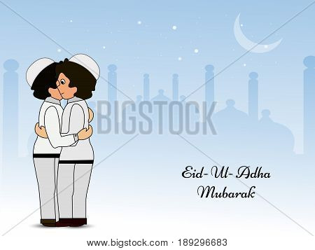 illustration of two men embrace each other with Eid Ul Adha Mubarak text