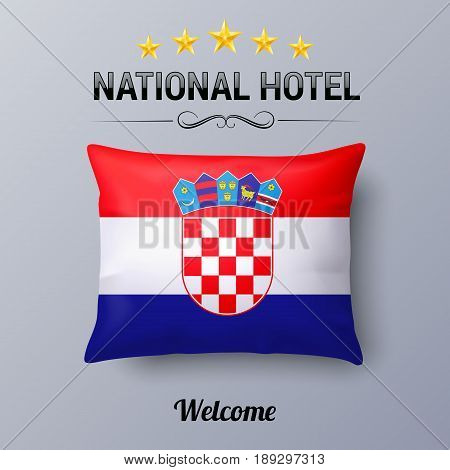 Realistic Pillow and Flag of Croatia as Symbol National Hotel. Flag Pillow Cover with Croatian flag