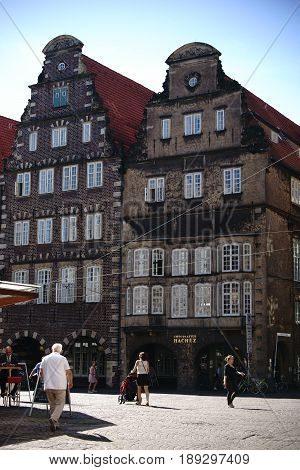 BREMEN, GERMANY - AUGUST 30: The historic building of the chocolate factory Hachez & Co on the market square in the old town on August 30, 2016 in Bremen.