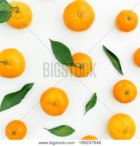 Mandarin. White Background. Flat lay, top view