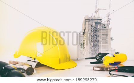 Engineering equipment in construction industry double exposure
