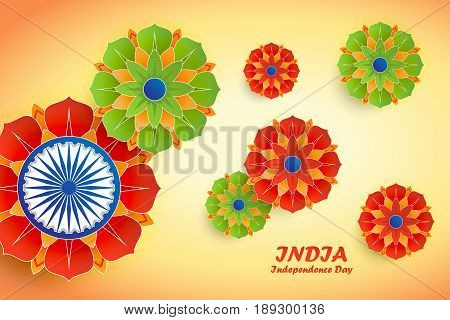 Happy Independence Day India. 15th of august. Indian Independence Day abstract background with flowers and ashoka wheel for your poster banner invitation or greeting card design