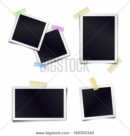Vector Collection of blank photo frames sticked on duct tape to white background. Template mockups for design