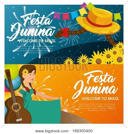 Festa junina infographic with hat braids flowers and woman holding guitar vector illsutration