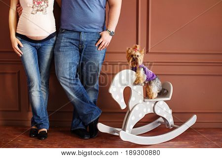 Pregnant woman and her husband Close-up on a background of brown wall