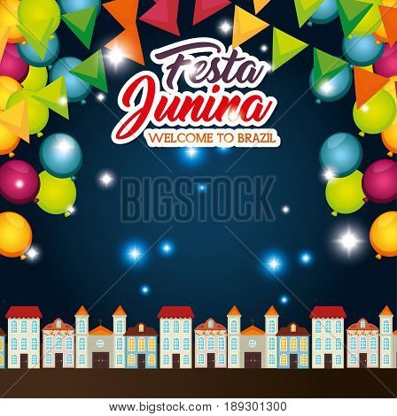 Nightime town landscape with ballons and banners festa junina vector illustration