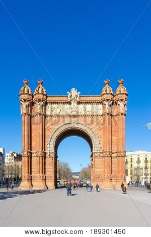 BARCELONA SPAIN - February 9, 2017: Arc de Triomf in Barcelona, is the capital city of the autonomous community of Catalonia in the Kingdom of Spain,February 9, 2017 in Barcelona Spain.