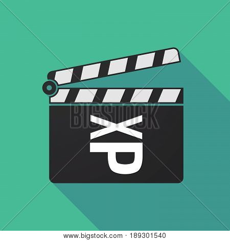 Long Shadow Clapper Board With  A Tongue Sticking Text Face Emoticon