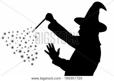 Silhouette Of Bearded Wizard In Cloak With Pointed Hat Creating Magic