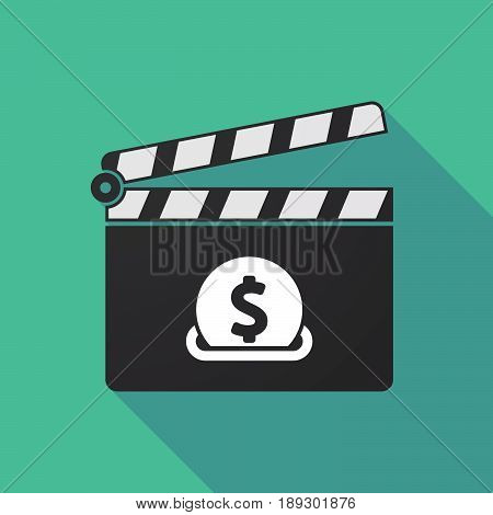 Long Shadow Clapper Board With  A Dollar Coin Entering In A Moneybox