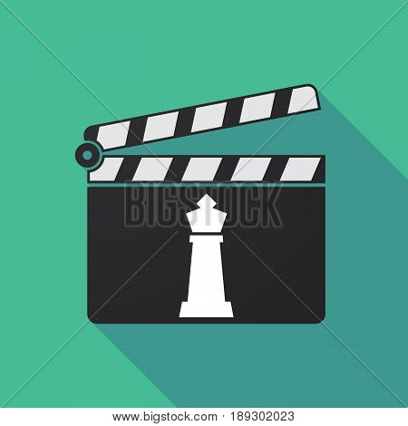 Long Shadow Clapper Board With A  King   Chess Figure