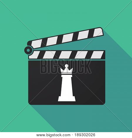 Long Shadow Clapper Board With A  Queen   Chess Figure