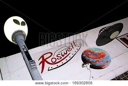 Detail of the city of Roswell, New Mexico (USA), famous because a flying saucer crashed in 1947