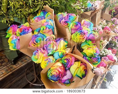 Rainbow Roses Bouquet in a Florist Shop