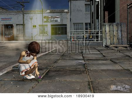 Little Girl Looking at Flower in Back Alley