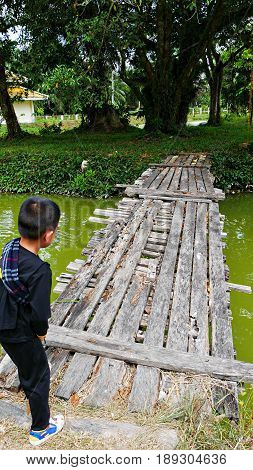 Rickety wooden bridge over green waters A boy hesitating to cross a rickety wooden bridge in Narathiwat, Thailand