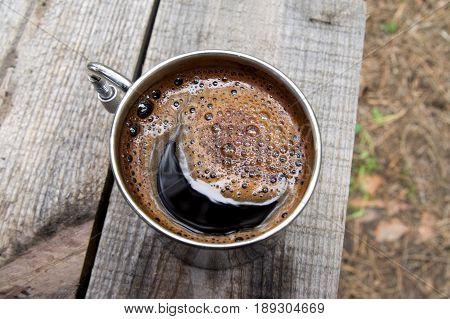 Metal Mug Of Coffee