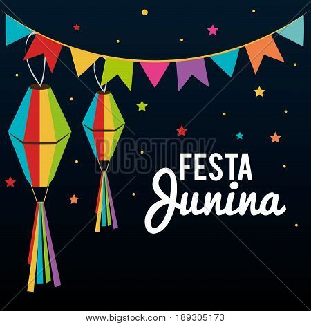 Nighttime sky with colorful stars, banner and lanterns. Festa junina. Vector illustration