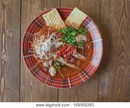 Slow Cooker Chicken Enchilada Soup/ close up