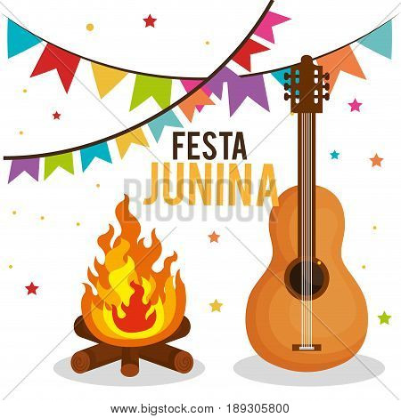 Festa junina design with fire and guitar over white background, Vector illsutration.
