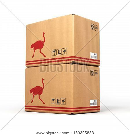 Cardboard Box Isolated On White Background 3D