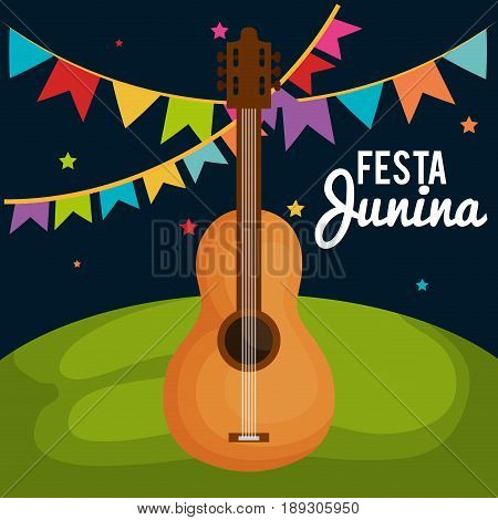 Festa junina design with nighttime outdoors landscape and guitar. Vector illsutration.