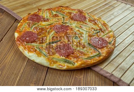 Pepperoni pizza Wwth marinara sauce. Hot pizza