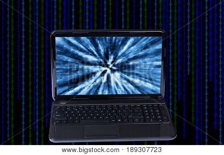 Open computer black color with digital background.